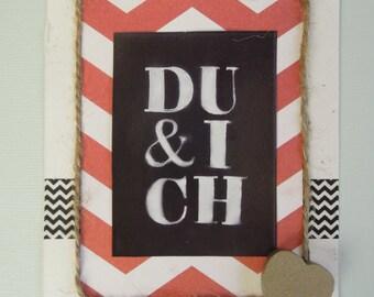 Red and ecru card: du & ich