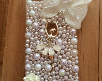 Beautiful Decoden Ballerina iphone 5/5s4/4s/6/6 plus Samsung s3/s4/s5 case pearls and crystals