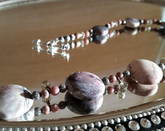 Picture Jasper with swarovski crystals and gunmetal findings. 16""