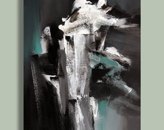SALE 15% Off Painting Black and White Grey Green Abstract Painting, Modern Painting Original