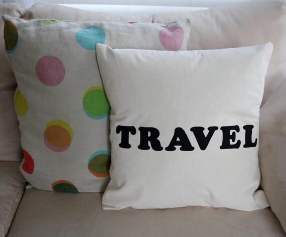 Throw Pillow Cover Travel 16x16 cream decorative pillow