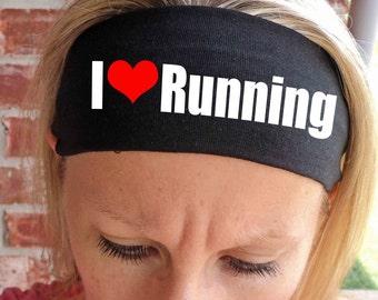 I Love Running Headband - Fitness Headbands - Running Headbands - Workout - Yoga - Hair Accessories