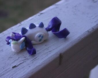 Handmade Polymer Clay Sleeping Dragon Rarity from My Little Pony: Friendship is Magic