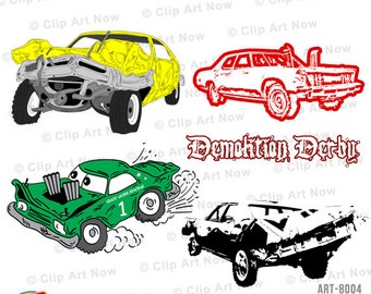 Demolition Derby Cars Digital Clip Art