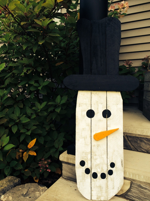 Primitive snowman snowman reclaimed wood snowman rustic for How to make a wood pallet snowman