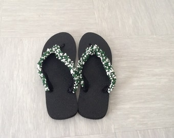 Green and White beaded hand made Flip flops UK size 7