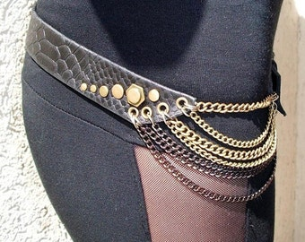 Leather belt,punk,tribal,handmade