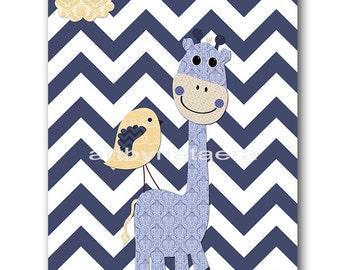 Giraffe Nursery Art Baby Nursery Print Baby Boy Nursery Decor Printable Print Digital Download Print 8x10 11X14 INSTANT DOWNLOAD blue