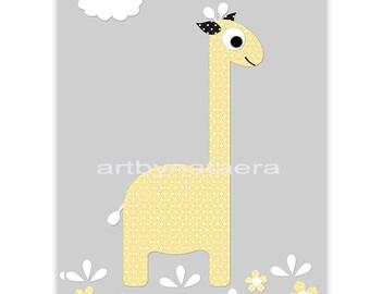 Baby Boy Nursery Art Digital Wall Art Baby Room Decor Giraffe Nursery Decor Digital Decor Digital Print 8x10 11X14 INSTANT DOWNLOAD gray