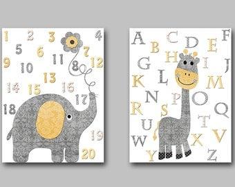 Digital Alphabet Numbers INSTANT DOWNLOAD Art Digital Art Digital Art Baby Boy Nursery Download Digital Download Art set of 3 8x10 11X14