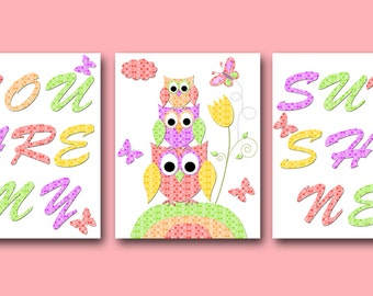 You are my sunshine Owl Decor INSTANT DOWNLOAD Art Digital Art Baby Girl Nursery Art Download Digital Download Art set of 3 8x10 11X14