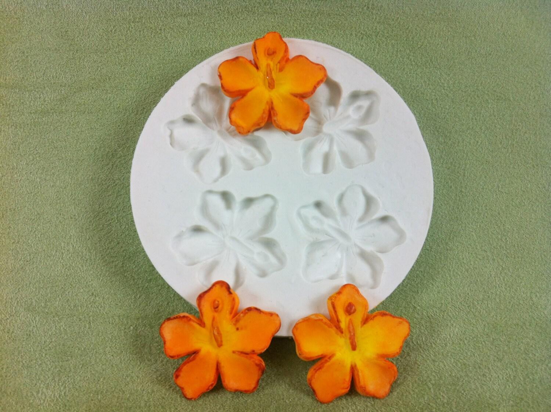 Hibiscus flowers silicone mold for fondant gumpaste chocolate 900 izmirmasajfo