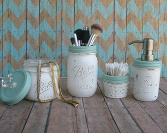 Genial Nautical, Beach Mason Jar Bathroom Set, Distressed, Shabby Chic Home Decor,  Bathroom
