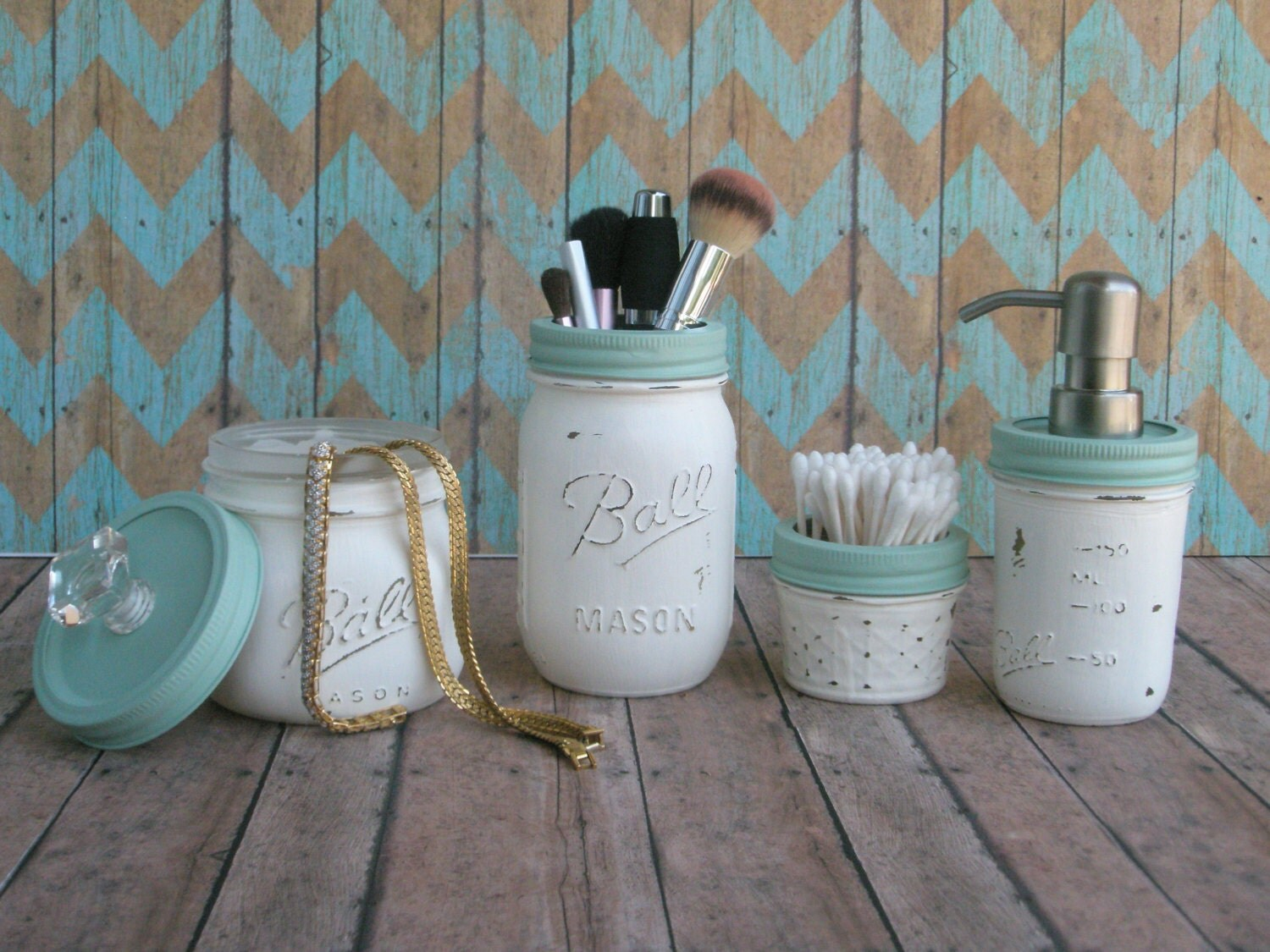 Nautical beach mason jar bathroom set distressed shabby for Bathroom decor mason jars