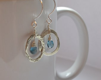 London Blue Gemstone and Israeli Silver Earrings, December Birthstone