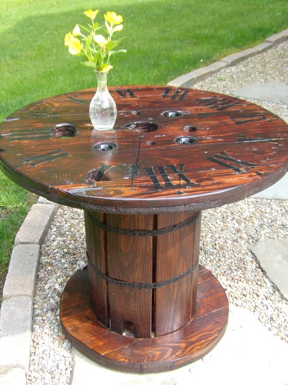 exciting cable spool kitchen table | Items similar to SOLD / Upcycled Repurposed Spool Table ...
