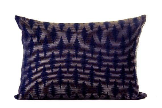 Modern Textured Lumbar Pillow Navy Pillows Ethnic by MAIDDesign