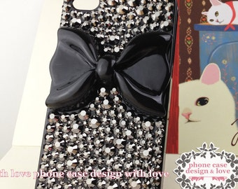 Studded iPhone 4s Case Skull iPhone 4 Case Rhinestone Handmade Case Cover With Black Bow