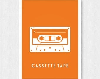 Bright Orange Cassette Tape Print, Wall Print, Wall Decor, Cassette Tape, Mix Tape, Music, Printable, Digital Poster Print, Instant Download