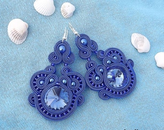 Shimmering blue Rivoli crystals - Soutache earrings