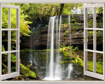 Russel Falls wall sticker, waterfall wall decal, 3D window wall art,  colorful wall sticker for nursery children kids home decoration [088]