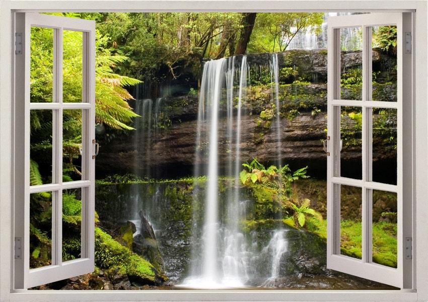 Russel falls wall sticker waterfall wall decal 3d window for 3d garden decoration