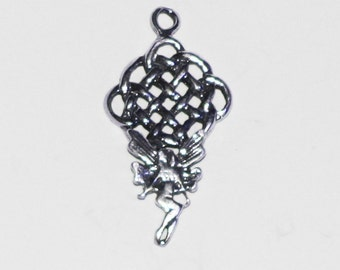 Celtic Knotwork Fairy Charm Pendant Sterling Silver Jewelry C155
