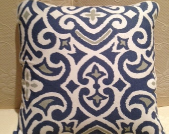 Blue Grey White Pillow Cover