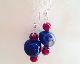 Blue Sodalite Crystal with Red Glass Earrings