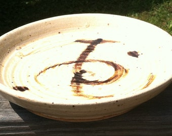 Rustic, Wheel Thrown Plate with Ridges and Iron Oxide