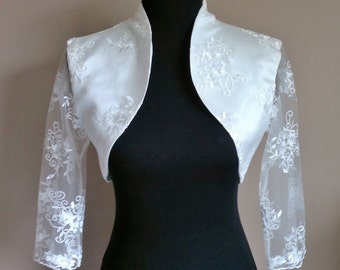 Lace & Satin Bolero 3/4 Sleeves / Shrug / Wedding Jacket / Wrap Fully Lined - UK 4-26 - Colours available : Ivory, White