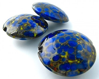 Vintage Japanese midnight blue speckled  lampwork disks, 22x9mm, sold individually. b1-669(e)