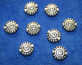 Pewter Beads 12  beads  (  10 mm) Southwestern Design