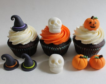 Halloween Fondant Variety Pack including Witches Hat, Jack O' Lantern, and Skull, 12 pack