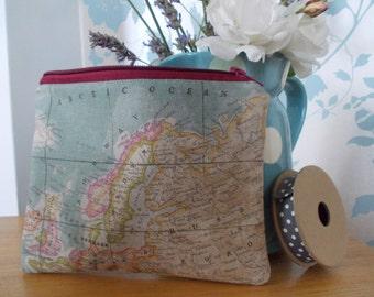 Handmade cosmetic makeup brush bag purse map detail linen gift