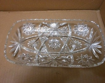 "Mint Vintage Anchor Hocking EAPC Star of David 12"" Relish Rolls Serving Rectangle Dish"