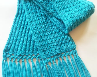Eyelet Mock Cable Knitted Blue Mint Women's Scarf