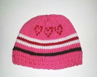 Pink Heart Design Girl's Hat