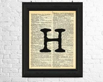 Letter H Print, Dictionary Page Art Instant Download - Typewriter Alphabet, Alphabet Art, Letter H Wall Art, Typewriter Art Print