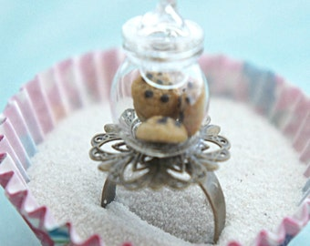cookie jar ring- miniature food ring, food jewelry, cookies ring