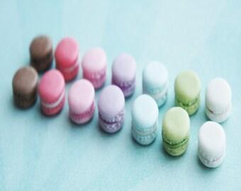 french macaron stud earrings- miniature food jewelry, macarons earrings