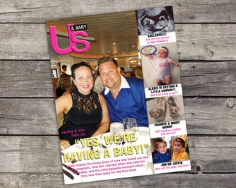 US & BABY Magazine Pregnancy Announcement Digital 5x7 or 8x10  and Instagram Post