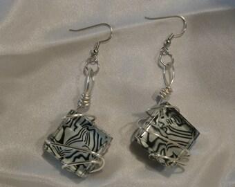 Black & White Glass Earrings