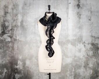 woolen scarf - hand cut pattern - long