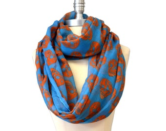 Blue With Orange Skull X-Large Infinity Scarf Loop Cowl
