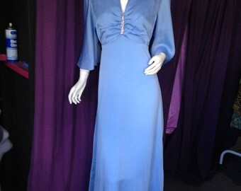 70's Prom Dress in a Sky Blue Easy Care Polyester!