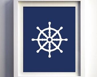 Nautical Art Print, Ship Wheel Art, Navy and White Boys Wall Art, Nautical Decor, Nautical Baby Boy Nursery Wall Art, Navy Blue Ship Wheel