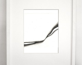 Flow (14) 8x10. 8x8. Charcoal Abstract Modern Print.