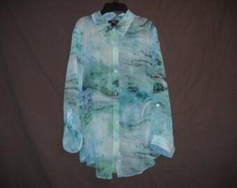 Sheer Long Sleeved Blouse Size L in Geo pattern, Green, Blue, White, Black