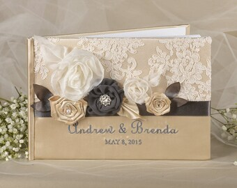 Lace Vintage Guestbook, Custom Colors Wedding Guest Book, Wedding Shabby Chic flowers PhotoAlbum,